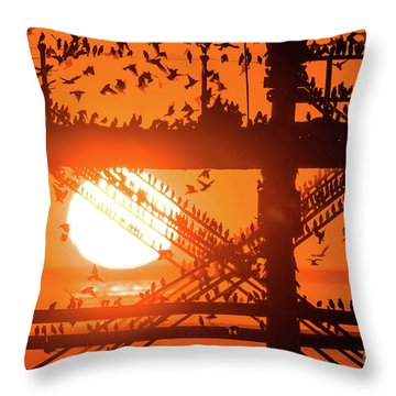 Starlings At Sunset Under Aberystwyth Pier Throw Pillow