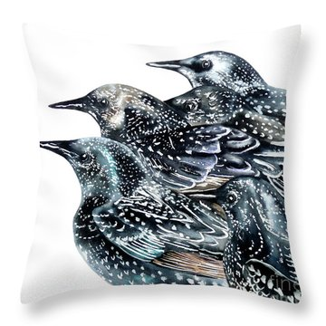 Starlings Throw Pillow by Marie Burke