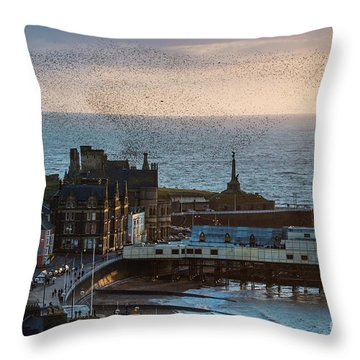 Starlings Over Aberystwyth On The West Wales Coast Throw Pillow