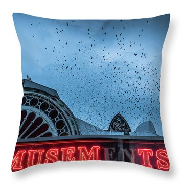Starlings Over Aberystwyth Royal Pier Throw Pillow