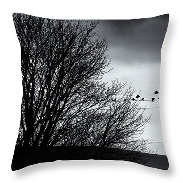 Starlings Roost Throw Pillow by Philip Openshaw