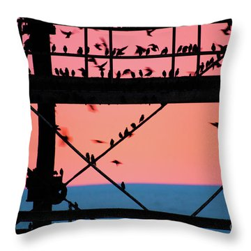 Starlings Under Aberystwyth Pier Throw Pillow