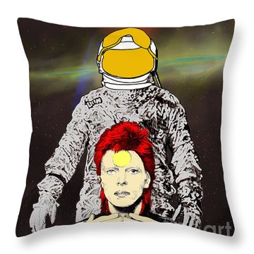 Starman Bowie Throw Pillow by Jason Tricktop Matthews
