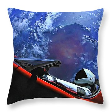 Starman In Tesla With Planet Earth Throw Pillow