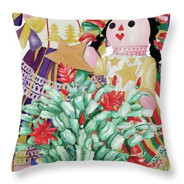 Starring The Christmas Cactus Throw Pillow