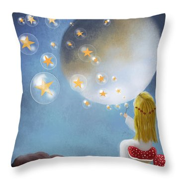 Starry Bubbles By Sannel Larson Throw Pillow