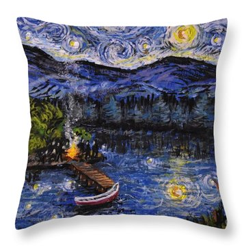 Starry Lake Throw Pillow