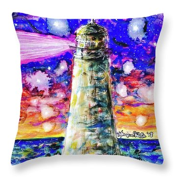 Throw Pillow featuring the painting Starry Light by Monique Faella