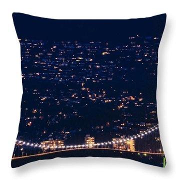 Throw Pillow featuring the photograph Starry Lions Gate Bridge - Mdxxxii By Amyn Nasser by Amyn Nasser