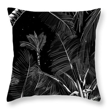Starry Moonlit Palms Throw Pillow