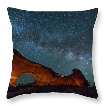 Starry Night At North Window Rock Throw Pillow