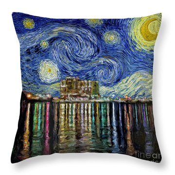 Starry Night In Destin Throw Pillow by Walt Foegelle