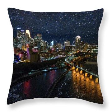 Starry Night In Minneapolis Throw Pillow
