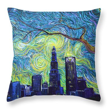 Starry Night Over The Queen City Throw Pillow