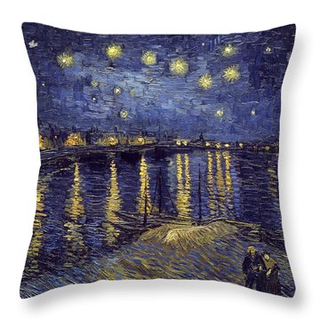 Throw Pillow featuring the painting Starry Night Over The Rhone by Van Gogh