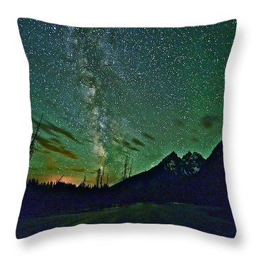Starry Night Over The Tetons Throw Pillow