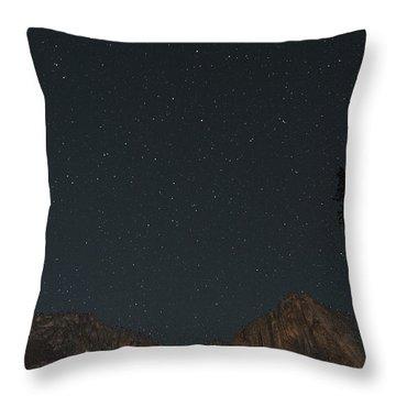 Starry Night Over Yosemite Falls Throw Pillow