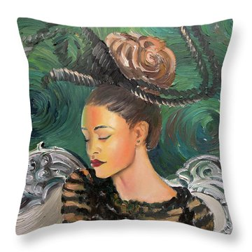 Starry Night Portrait Throw Pillow