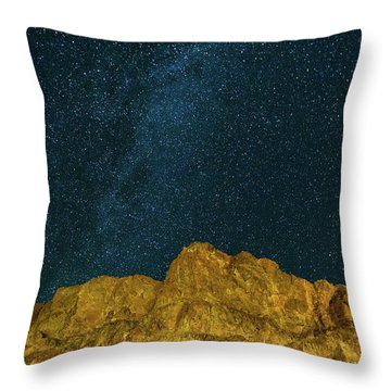 Starry Night Sky Over Rocky Landscape Throw Pillow