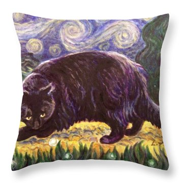 Throw Pillow featuring the painting Starry Night Stroll by Laura Aceto