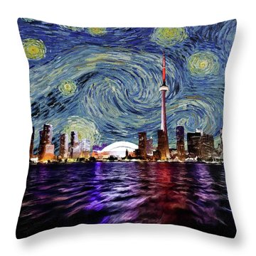 Throw Pillow featuring the painting Starry Night Toronto Canada by Movie Poster Prints