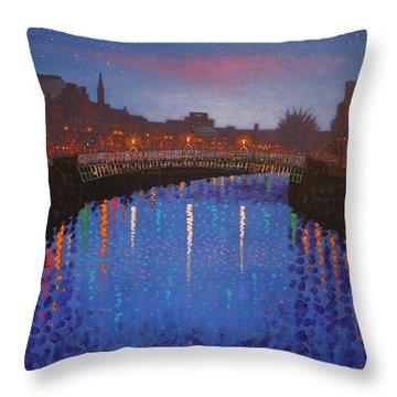 Starry Nights In Dublin Ha' Penny Bridge Throw Pillow by John  Nolan