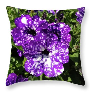 Starry Petunias... Throw Pillow