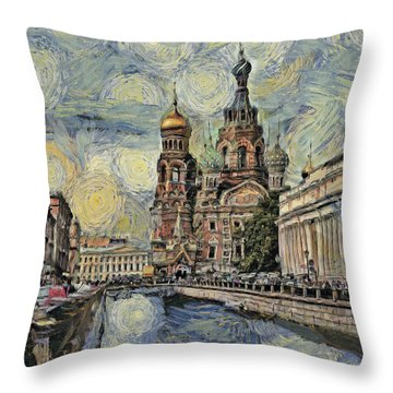 starry Saint Petersburg Throw Pillow