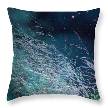 Throw Pillow featuring the photograph Starry Sky Grass by Yulia Kazansky