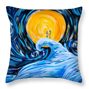 Starry Spiral Hill Night Throw Pillow