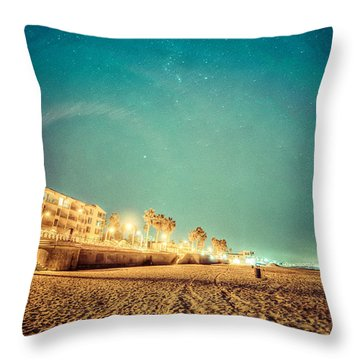 Starry Starry Pacific Beach Throw Pillow