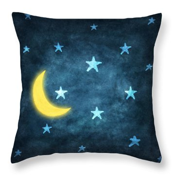 Stars And Moon Drawing With Chalk Throw Pillow by Setsiri Silapasuwanchai