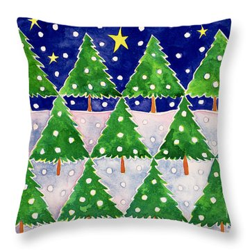 Stars And Snow Throw Pillow by Cathy Baxter
