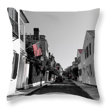 Stars And Stripes- Church St Charleston Sc Throw Pillow