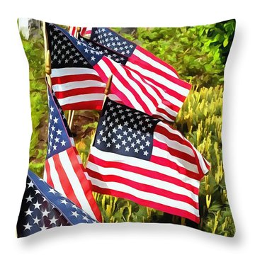 Stars And Stripes Throw Pillow by Janine Riley