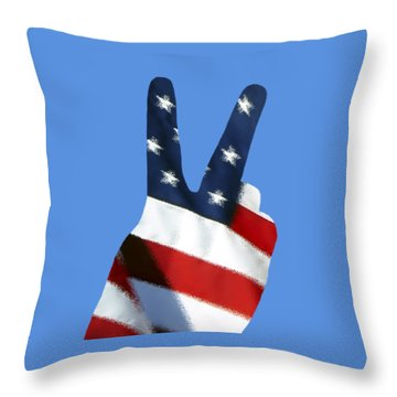 Throw Pillow featuring the photograph Stars And Stripes Peace Sign .png by Al Powell Photography USA