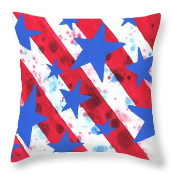 Throw Pillow featuring the painting Stars And Strips  by Darice Machel McGuire