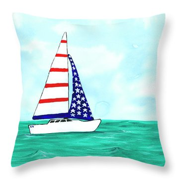 Throw Pillow featuring the painting Stars And Strips Sailboat by Darice Machel McGuire
