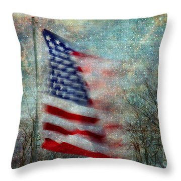 Stars And Stripes American Flag Artistic Liberty Throw Pillow