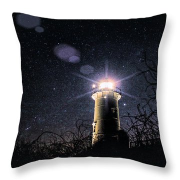Throw Pillow featuring the photograph Stars Over Nobska Lighthouse by Jeff Folger
