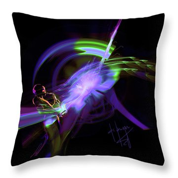 Throw Pillow featuring the painting Starship Saxophone by DC Langer