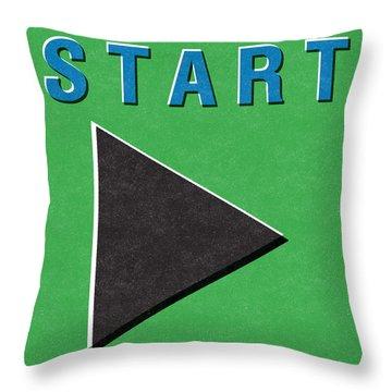 Start Button Throw Pillow by Linda Woods