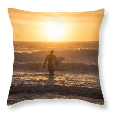 Start The Day Surfing Throw Pillow
