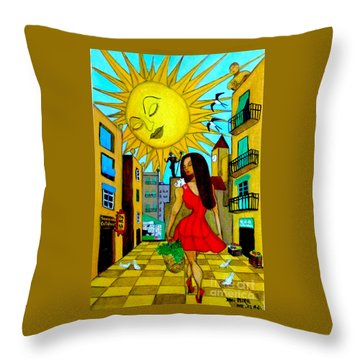 Throw Pillow featuring the painting Starting A New Day by Don Pedro De Gracia