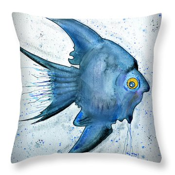 Startled Fish Throw Pillow by Walt Foegelle