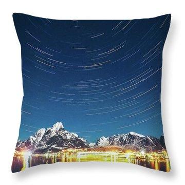 Startrails Above Reine Throw Pillow