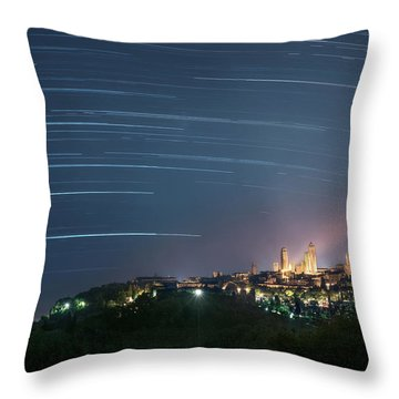 Startrails Over San Gimignano Throw Pillow
