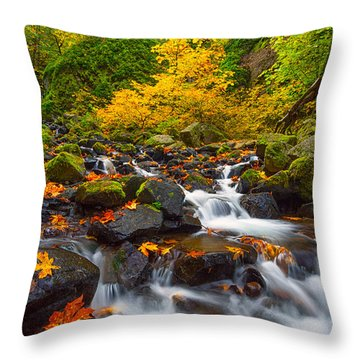 Starvation Creek Falls Throw Pillow by Patricia Davidson