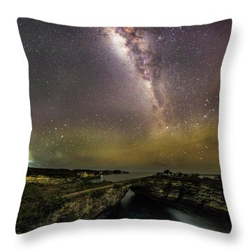 Throw Pillow featuring the photograph stary night in Broken beach by Pradeep Raja Prints