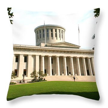 State Capitol Of Ohio Throw Pillow by Laurel Talabere
